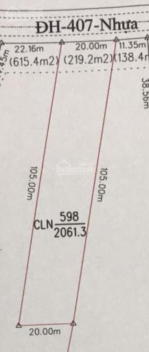 Tôi chính chủ cần bán gấp 2061m2 đất mặt tiền DH 407 nhựa 10m