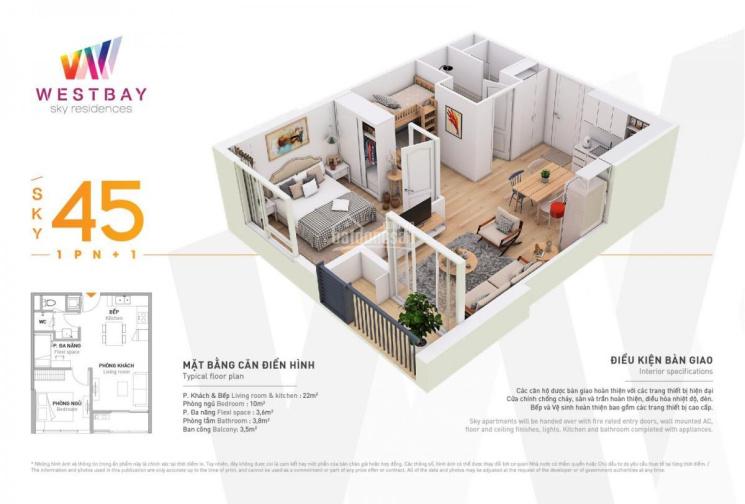 CC Westbay 45 - 66m2 từ 1.1 tỷ - tặng nội thất - HTLS 0% - CK 6% TT sớm, LH 0918114743 ảnh 0