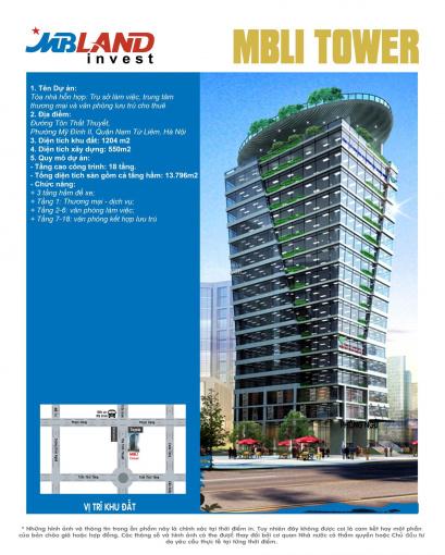 Cho thuê dài hạn 50 năm văn phòng mặt đường Tôn Thất Huyết, cạnh Toyota Mỹ Đình. S: 46 - 70m2