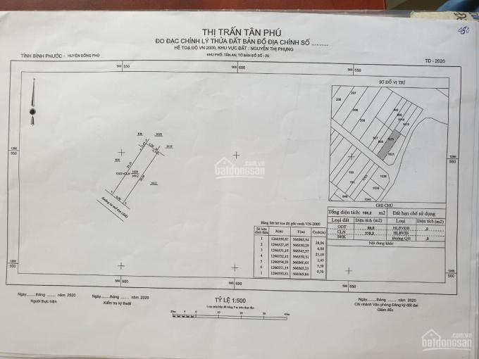 Bán đất tại trung tâm thị trấn Tân Phú, Đồng Phú, Bình Phước, sổ hồng, thổ cư, giá 300tr/150m2