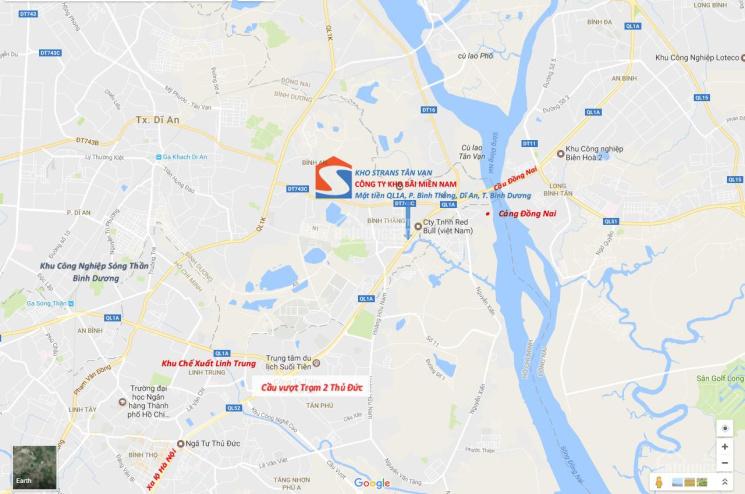 Strans cho thuê kho chuyên dụng chứa hàng phân bón - TAGS, mặt tiền Quốc lộ 1A gần ngã ba Tân Vạn