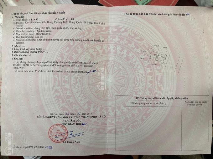 Bán lô đất tái định cư Kiến Hưng - Hà Đông TT10, ô 32. DT 40m2, giá 2 tỷ 850 triệu