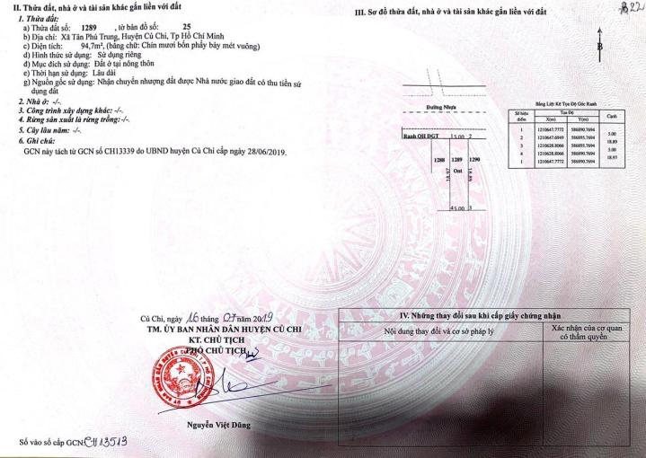 Đất thổ cư Quốc Lộ 22 ngay bệnh viện Xuyên Á và Hồ Văn Tắng, Củ Chi, TPHCM, 5x19m, giá 1tỷ3