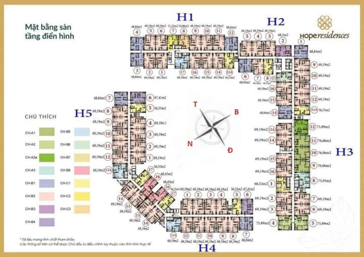 Cho thuê căn hộ chung cư Hope Residence tầng 10 DT 69m2, đồ gắn tường, giá 6tr/tháng. LH 0904516638