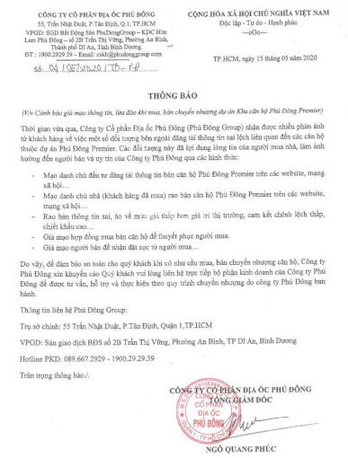 Cảnh báo lừa đảo khi mua Phú Đông Premier. Liên hệ: 0906.835.345 NV chủ đầu tư để có thông tin đúng