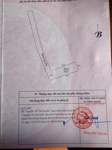 Bán 36.8m2 đất Thôn 3 Vạn Phúc - Thanh Trì, giá: 550 triệu, ĐT: 0978733569