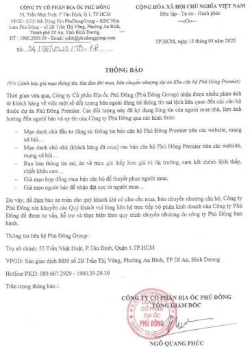 Để tránh báo giá ảo và nhận thông tin căn hộ Phú Đông Premier chính xác. LH chủ đầu tư 0901.866.979