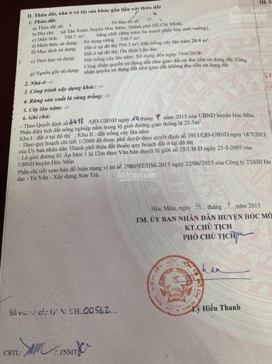 Chính chủ bán 750m2 đất thổ cư, Tân Xuân, Hóc Môn, cách MT Tô Ký 100m, đường 12m tiện kinh doanh