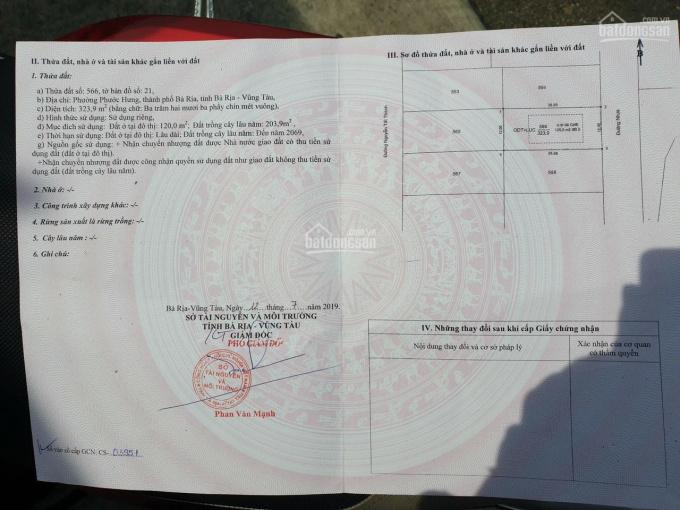 Bán đất mặt sau Nguyễn Tất Thành, P. Phước Hưng, Tp Bà Rịa. DT: 12x27m có 120m2 TC, giá 3.8 tỷ