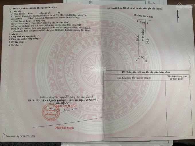 Bán đất tại vòng xoay Hắc Dịch, TX Phú Mỹ, giá chỉ từ 6tr/m2, SHR, sang tên công chứng ngay