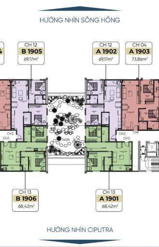 """Bán độc quyền căn hộ """"nhà vườn"""" Tây Hồ River View cực hot 1901, 1902, 1905, 1906"""