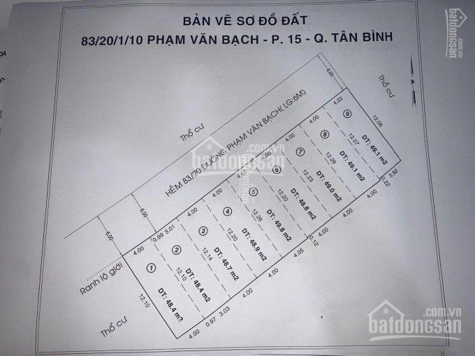 Mở bán 9 lô đất hẻm 83/20 đường Phạm Văn Bạch, P15, Tân Bình. Giá chỉ 1.9 tỷ/nền. Sổ riêng từng nền