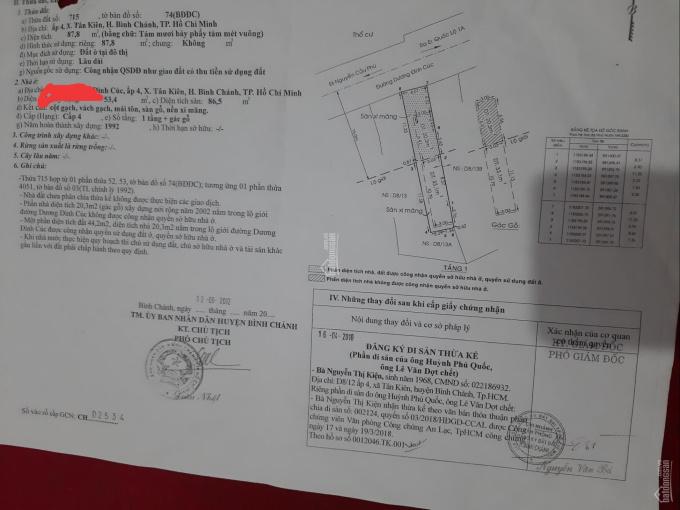 Nhà đất MTNB đường Dương Đình Cúc, Tân Kiên, Bình Chánh, 87,7m2 2tỷ, SHR, LH 0785671710 gặp Vọng