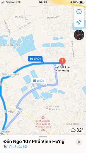 Cho thuê nhà ngõ 107 Vĩnh Hưng, Hoàng Mai, HN, DT 100m2 x 3T, giá 7,5 triệu/tháng