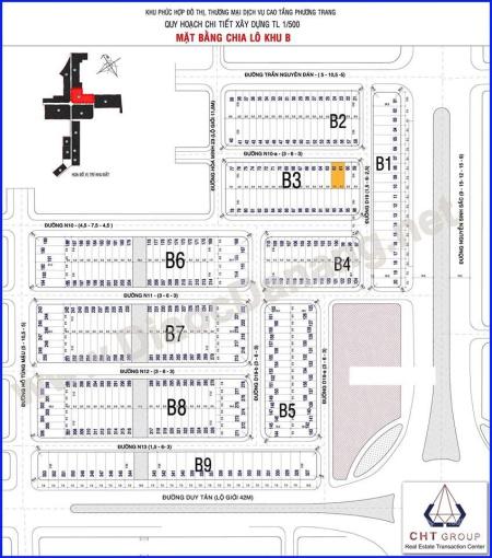 Bán đất khu B song song Nguyễn Sinh Sắc giao Hoàng Thị Loan. Block B5 diện tích 95,5m2 ngang 5m