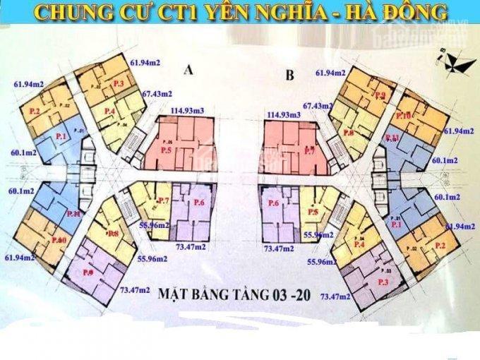 Cắt lỗ bán căn hộ CT1 Yên Nghĩa, căn 01, diện tích 60.1m2, giá bán 820 triệu, 0978027988