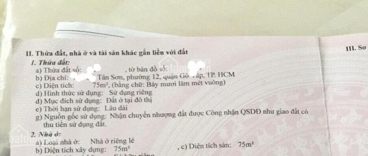 Nội khu Tân Sơn, Gò Vấp DT 4.5x17m, DTCN & DTXD 75m2, C4 giá 6.5 tỷ ảnh 0