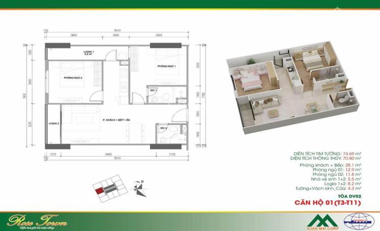 Bán căn hộ 74m2, 2PN, 2WC, giá 1.82 tỷ, ở ngay, tại Hoàng Liệt, Hoàng Mai (gần BX Nước Ngầm) ảnh 0
