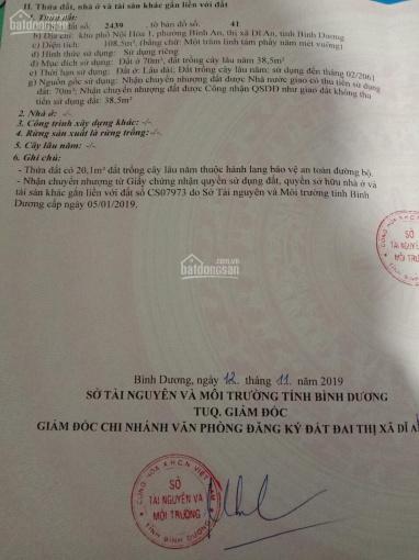 Chuyển công cần bán gấp đất MT đường Bà Huyện Thanh Quan, TP Dĩ An. DT: 108m2, giá chỉ 3tỷ750tr ảnh 0