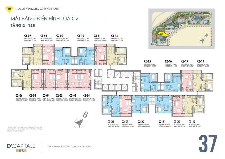 Bán căn hộ 1 phòng ngủ giá tốt nhất dự án D'Capitale ban công Đông Nam view hồ. Giá 1,4 tỷ ảnh 0