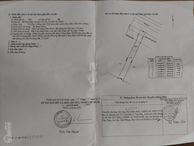 Bán đất vị trí siêu đẹp 15 x 40.5 = 766 m2 (thổ cư 120) xã Hoà Phú, Huyện Củ Chi, TPHCM ảnh 0