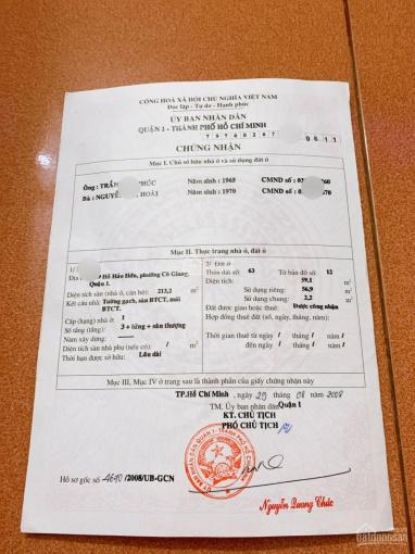 Nhà chính chủ cần bán gấp hẻm đường Hồ Hảo Hớn - P. Cô Giang - trung tâm Quận 1, cách Bùi Viện 100m ảnh 0