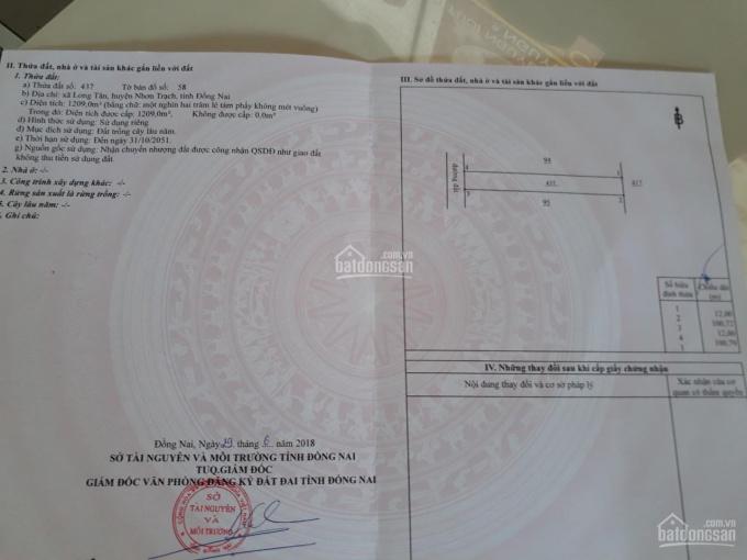 Cần bán 1209m2 đất gần vòng xoay Nhơn Trạch thuộc xã Long Tân, Nhơn Trạch, Đồng Nai, LH: 0932199024 ảnh 0