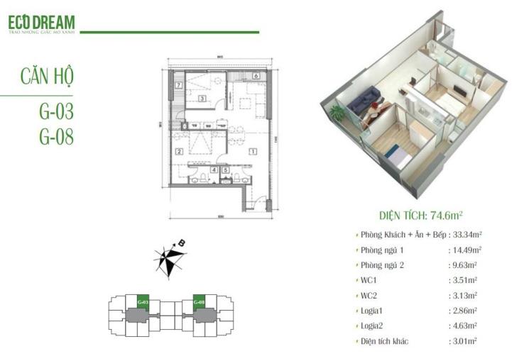 Bán cắt lỗ chung cư Eco Dream, tầng 12 - 03, DT: 75m2, cửa ĐN, giá lỗ 2,05 tỷ, LH 0966348O68 ảnh 0