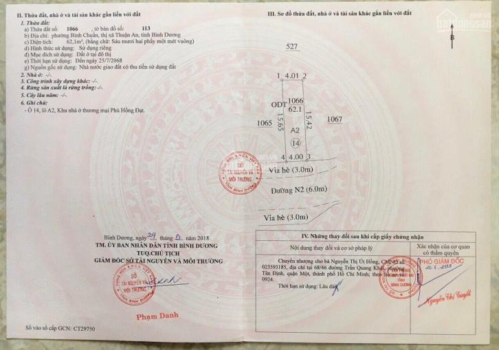 Chính chủ, bán lô Phú Hồng Đạt, 2 tỷ/lô 2 mặt tiền bao thuế phí, sổ sẵn, lô đẹp. LH 0948332553 ảnh 0