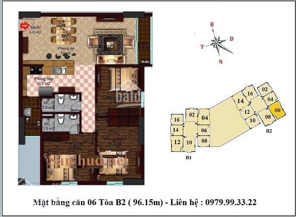 Cần chuyển nhượng căn hộ 3 phòng ngủ 96,15m2 tại B1 HUD2 Tây Nam Linh Đàm. Giá chỉ 2 tỷ 600 triệu ảnh 0