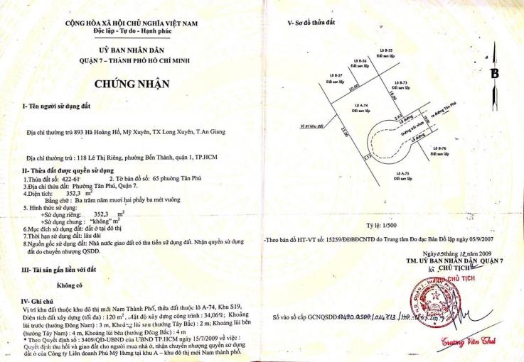 Bán gấp lô đất biệt thự lớn nhất Phú Mỹ Hưng, KP Nam Thông 2, xây dựng tự do, DT 352m2 chỉ 129tr/m2 ảnh 0