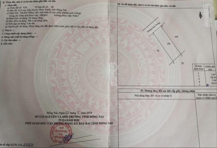 Chính chủ cần bán đất 1 sẹc đường Nguyễn Hữu Cảnh, xã Long Tân, huyện Nhơn Trạch, Đồng Nai ảnh 0
