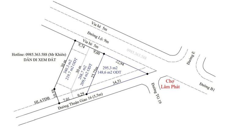 Bán lô đất 2 mặt tiền trước sau, đối diện chợ Lâm Phát KDC Thuận Giao buôn bán sầm uất ảnh 0
