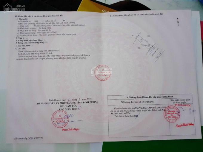 Ngộp lô 99,5m2 trong KDC Mỹ Phước Khánh sổ sẵn ngân hàng hỗ trợ tối đa 70% siêu đẹp ảnh 0