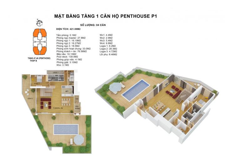 Bán căn hộ Penthouse Duplex bể bơi tầng 49-50 VIP nhất HN từ 313 - 421m2 Discovery Complex ảnh 0