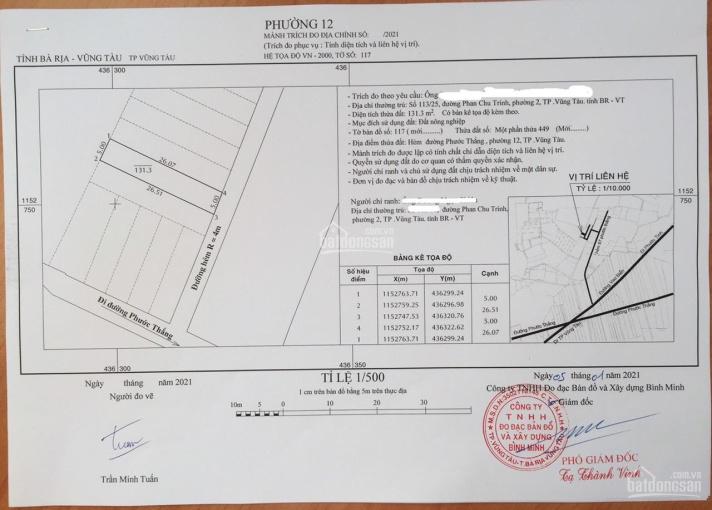 Bán đất hẻm 97 đường Phước Thắng thông hẻm 89, P.12 ( 131.3m2 đất DSH) 682tr ảnh 0