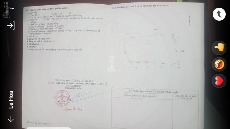 Bán 3 công đất ấp An Thái, xã An Cư, huyện Cái Bè, tỉnh Tiền Giang ảnh 0