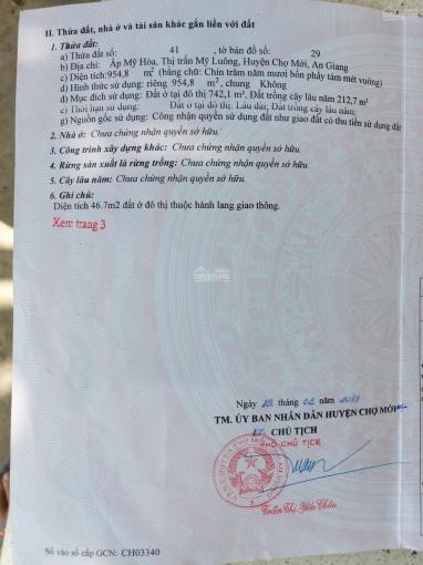 Chính chủ bán lô đất mặt tiền rộng tại thị trấn Mỹ Luông, Chợ Mới, An Giang ảnh 0