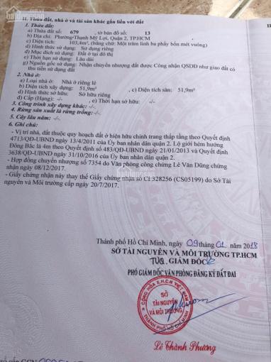 Bán 104m2 đất, đường xe hơi, Nguyễn Thị Định, p. Thạnh Mỹ Lợi, Q2 ảnh 0