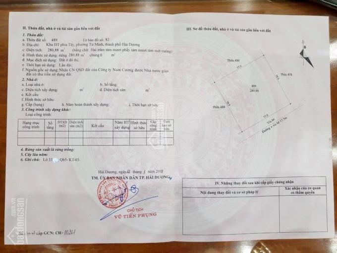 CC cần bán lô đất biệt thự khu đô thị Thiên Phú, phường Tứ Minh, thành phố Hải Dương ảnh 0