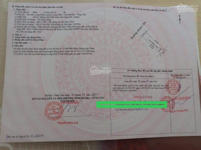 Chính chủ kẹt tiền bán gấp lô đất ngay cổng chào huyện Long Điền, giá 1,1 tỷ, LH 0903.066.813 ảnh 0