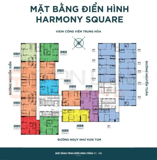 Ngoại giao căn góc 3PN tầng đẹp chung cư Harmony Square. Giá 3,6 tỷ ảnh 0