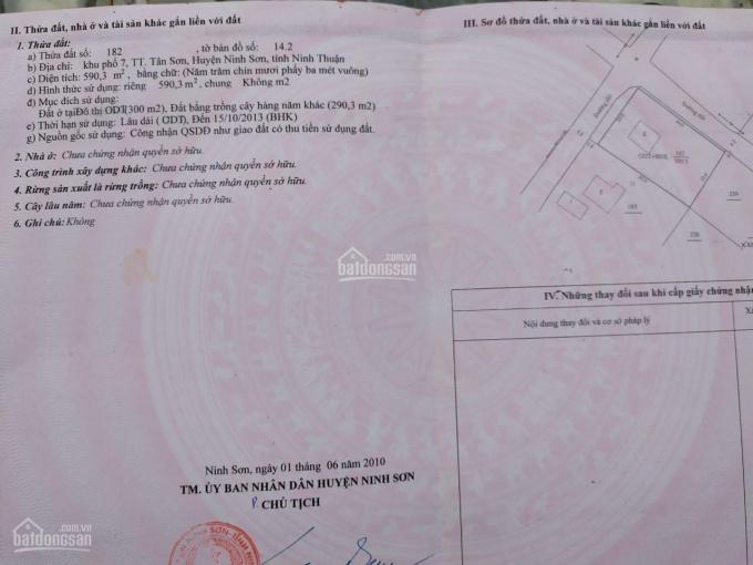 Chính chủ bán gấp lô đất đẹp 3 mặt tiền tại khu phố 7, thị trấn Tân Sơn, Ninh Sơn, giá cực tốt ảnh 0