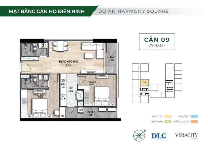 Bán căn hộ 2PN Harmony Square, Nguyễn Tuân giá chỉ 2,64tỷ/75.6m2, chiết khấu 3%, tặng ngay 15 triệu ảnh 0