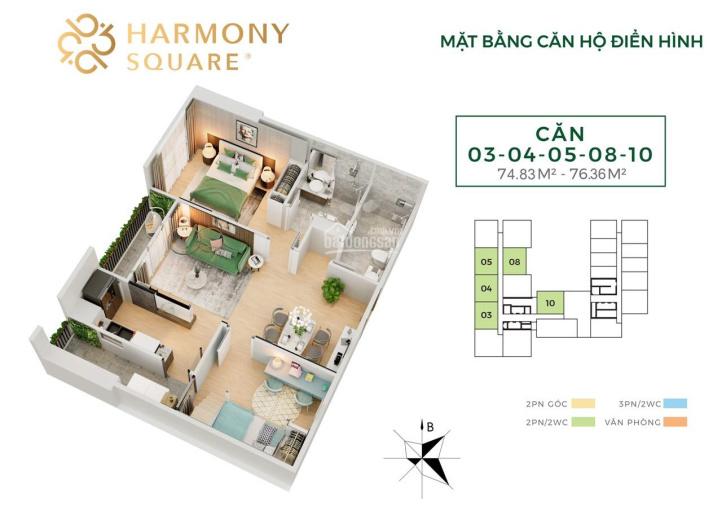 2.8 tỷ sở hữu căn hộ 2PN 77m2 Harmony Square, CK 3% hoặc vay LS 0% trong 12 tháng, full nội thất ảnh 0