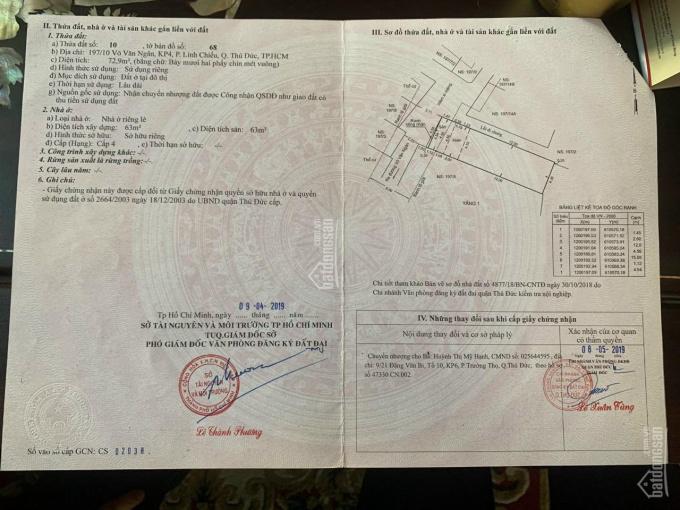 LH 097277 2829 - Bán nhà đường Võ Văn Ngân - trung tâm quận TĐ, DT 73m2. Giá 5,1 tỷ ảnh 0