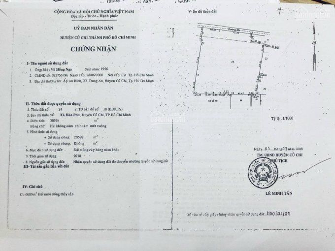 Bán đất siêu đẹp 100 x 110 (11.000m2) xã Hoà Phú, Huyện Củ Chi, TPHCM ảnh 0