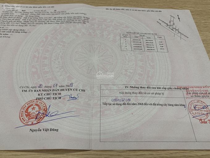 Bán nhanh lô đất Củ Chi 168m2 2,25 tỷ mặt tiền Trần Văn Chẩm, Quốc Lộ 22, Tel: 0919830239 ảnh 0