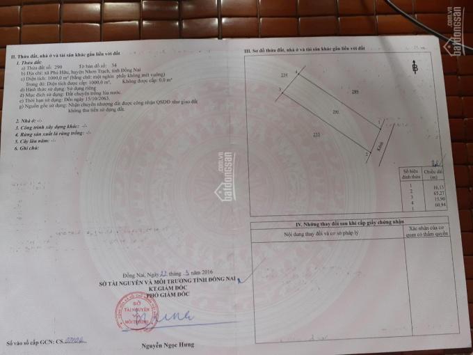 Bán đất xã Phú Hữu, Nhơn Trạch, 1000m2, giá 4,1 tỷ ảnh 0