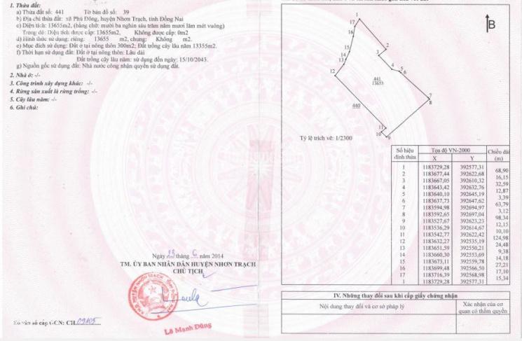 Cần bán lô đất 1.3ha vị trí đẹp, giá 2 triệu/m2, tại Phú Đông, Nhơn Trạch, Đồng Nai ảnh 0
